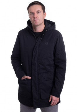 Fred Perry - Padded Hooded Black - Jacken