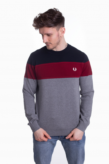 Fred Perry - Panelled Jumper Steel Marl - Sweater