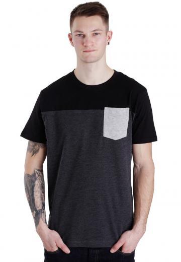 Urban Classics - 3-Tone Pocket Charcoal/Black/Grey - - T-Shirts