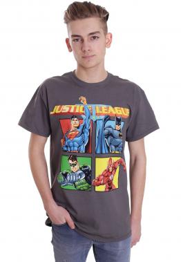 Justice League - Squares Charcoal - - T-Shirts